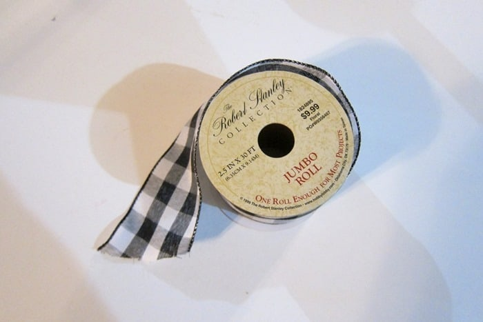black and white buffalo check plaid ribbon for wreath project
