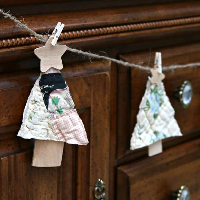 diy trees cut from a quilt made into a garland