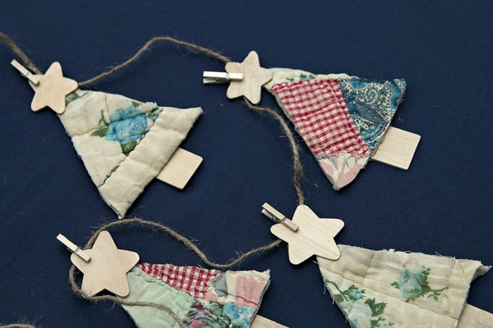 how to make a Christmas tree garland banner from a vintage handmade quilt