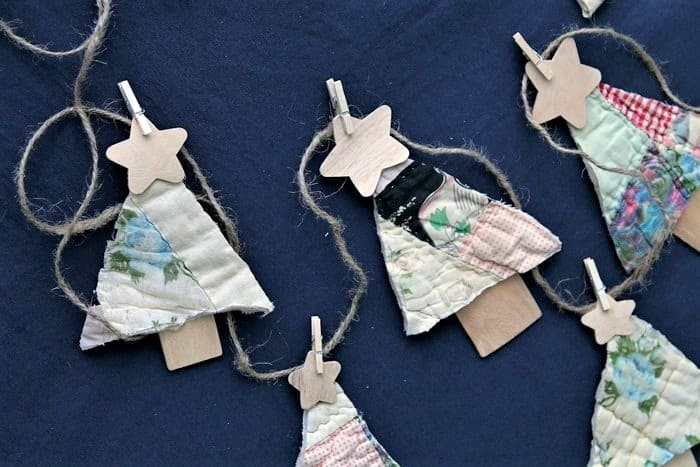 how to use old quilts to make Christmas ornaments