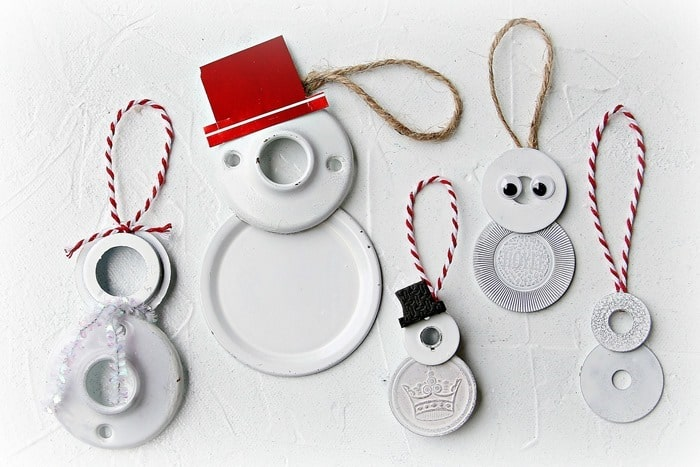 junk items make fun snowmen ornaments