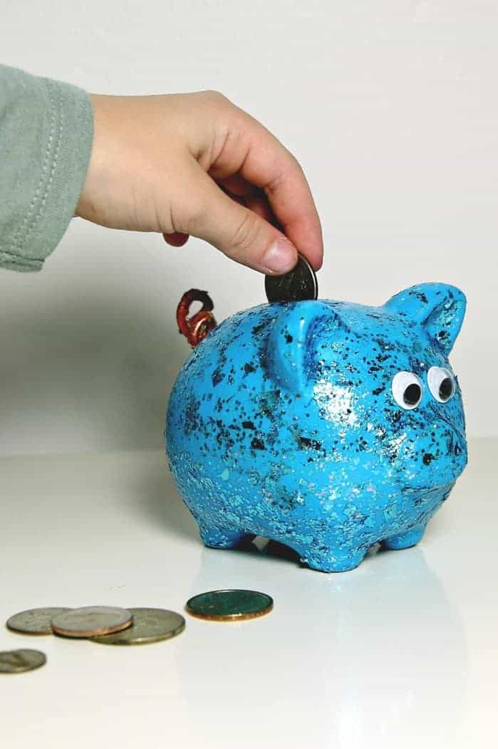 painted piggy bank gift idea: Dollar Tree Crafts