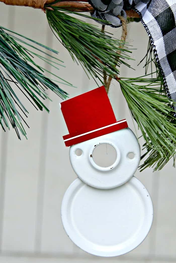 reclaimed hardware snowman ornament