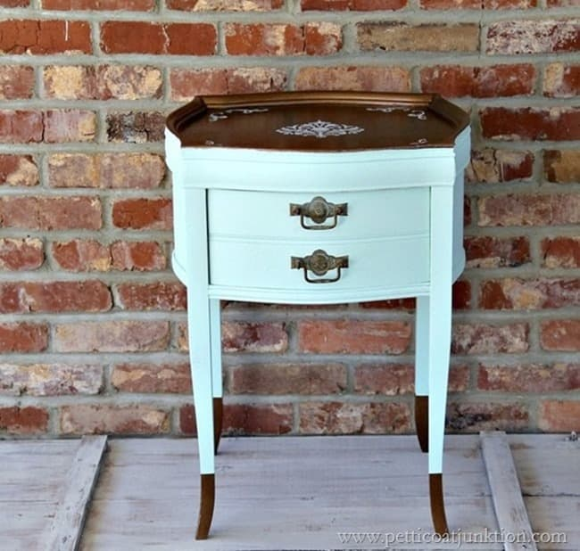 two tone painted side table with paint dipped legs