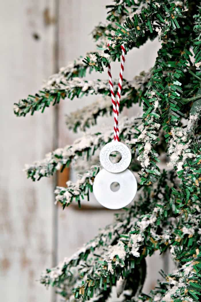 tiny snowman ornament made from stainless steel washers