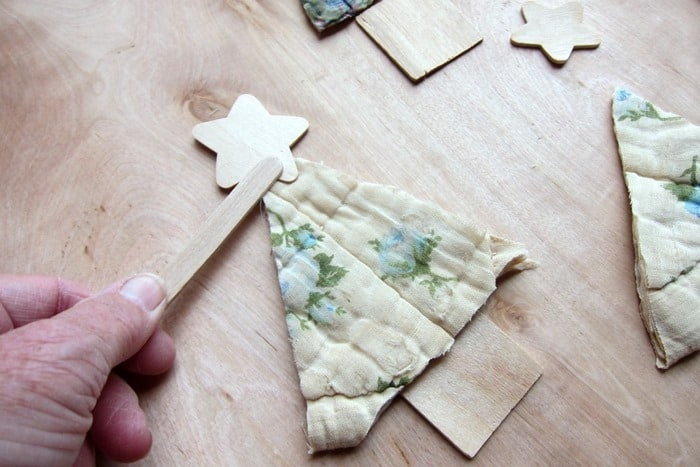 use popsicle sticks when working with hot glue