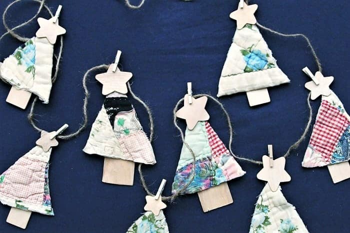vintage quilt christmas tree garland or christmas tree ornaments