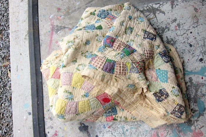 vintage quilt cut up for craft projects