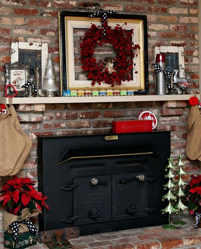 Decorating a fireplace and mantel with vintage Christmas decor