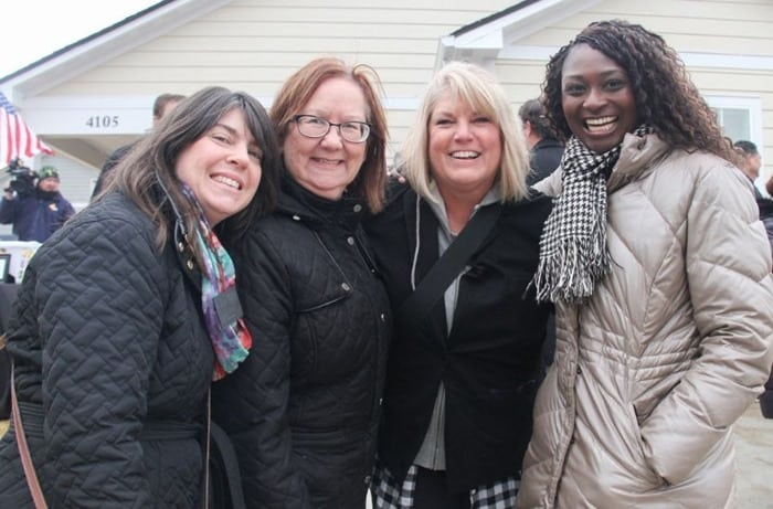 Nancy, Kathy, Lisa, Whitney at the Homes for the Holidays Warrick Dunn Charities Nashville home presentation 2019