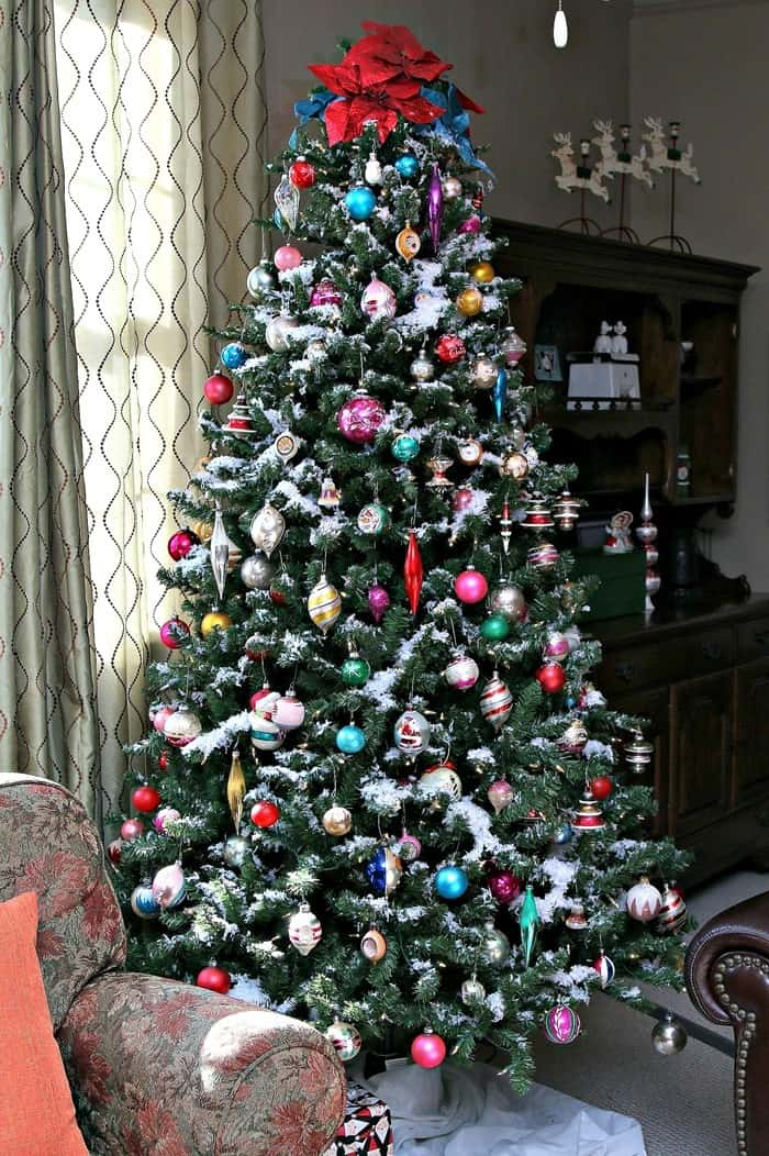 Petticoat Junktion Christmas tree decorated with vintage Shiny Brite ornaments