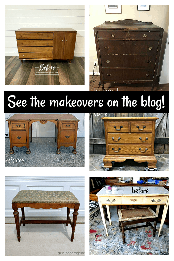 See the furniture makeovers using paint, stencils, and furniture transfers on the blog