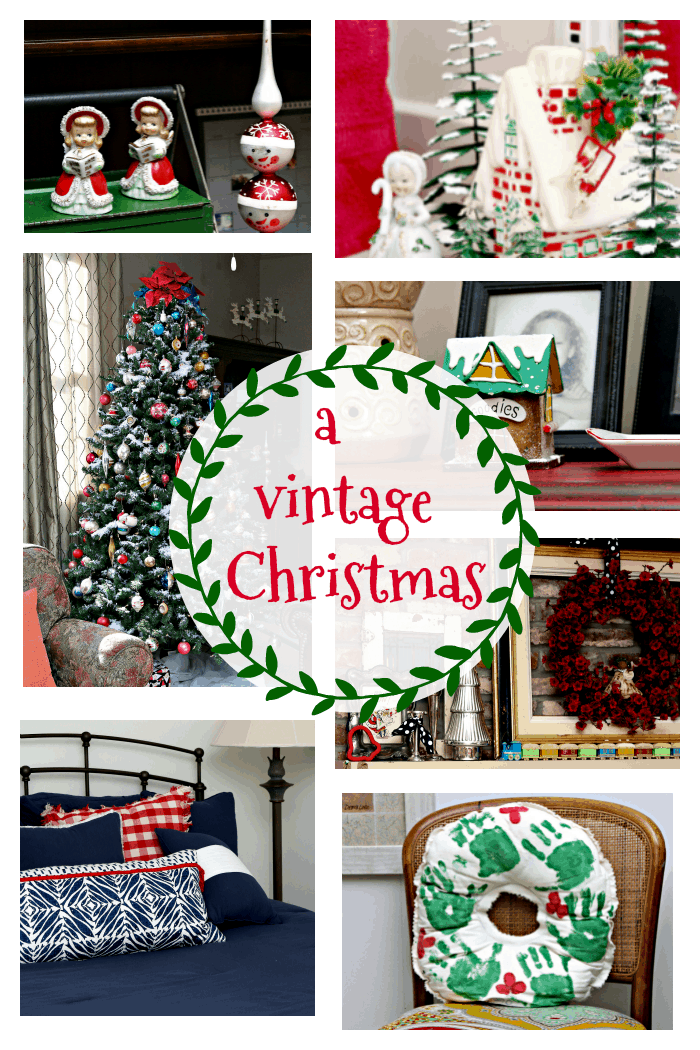 Vintage Christmas decor for the mantel and Shiny Brite ornaments for the Christmas Tree