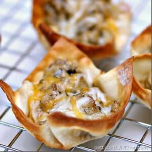 sausage wontons with cheese and black olives