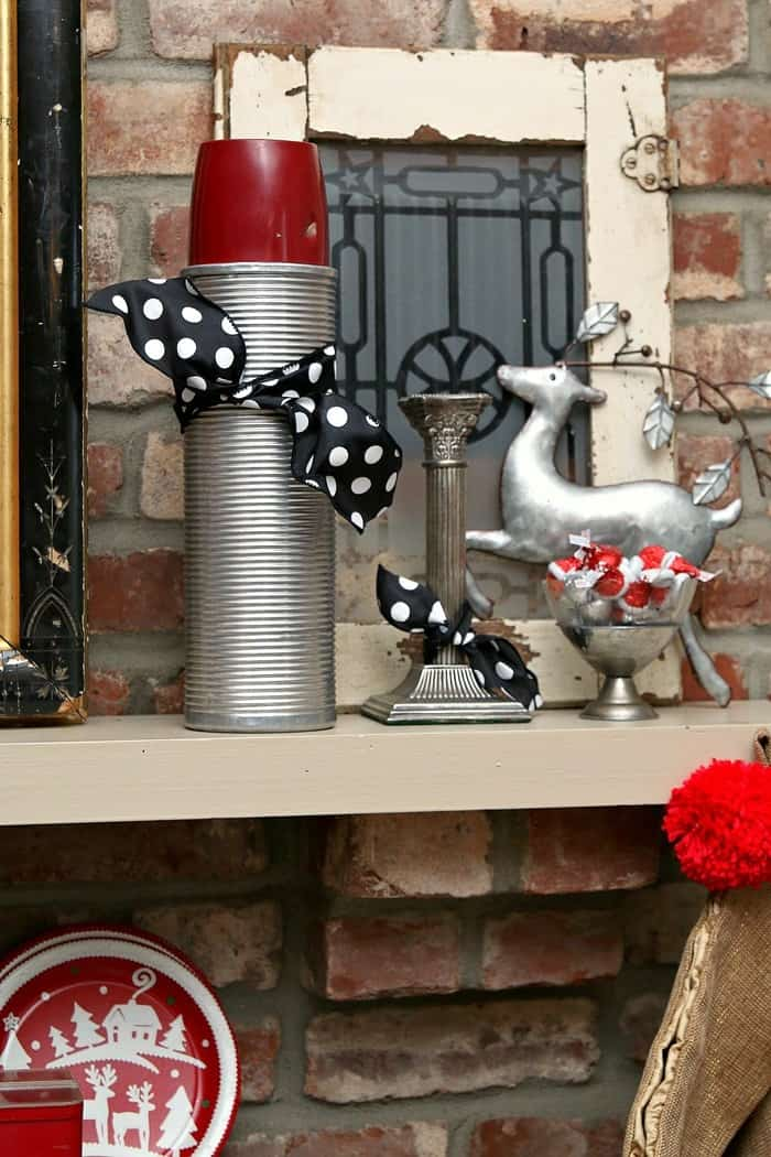 silver plate Christmas decor for the mantel