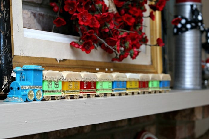 vintage candle holder train Christmas decor