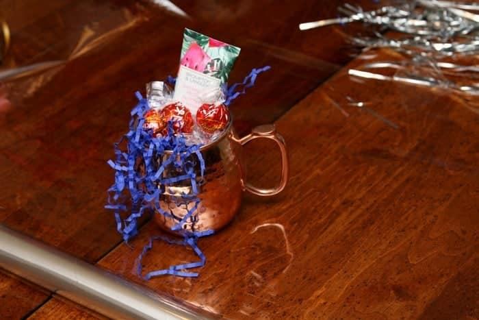 wrap mug in clear cellophane
