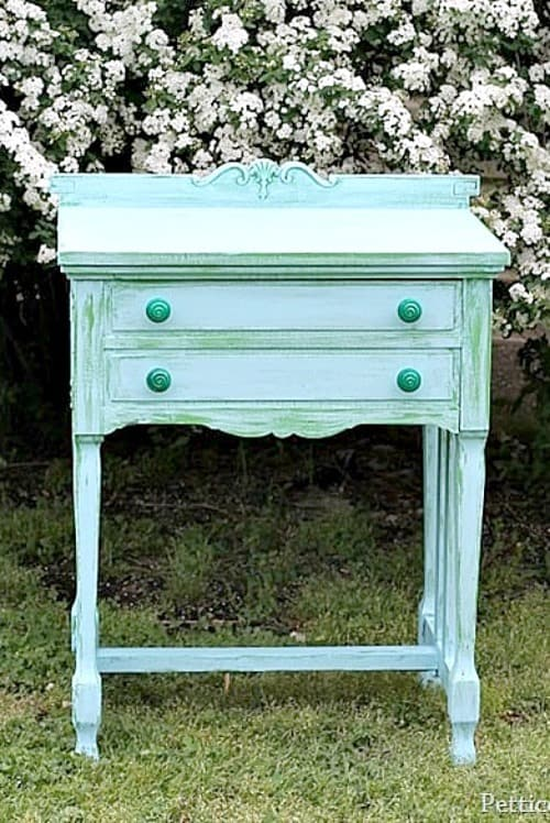Green and Turquoise sewing machine cabinet