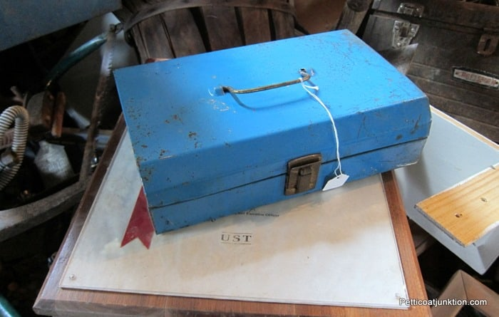 blue metal box from the junk shop