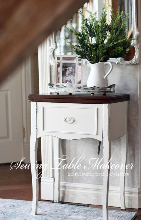 simple sewing table makeover from Confessions of a Serial DIYer