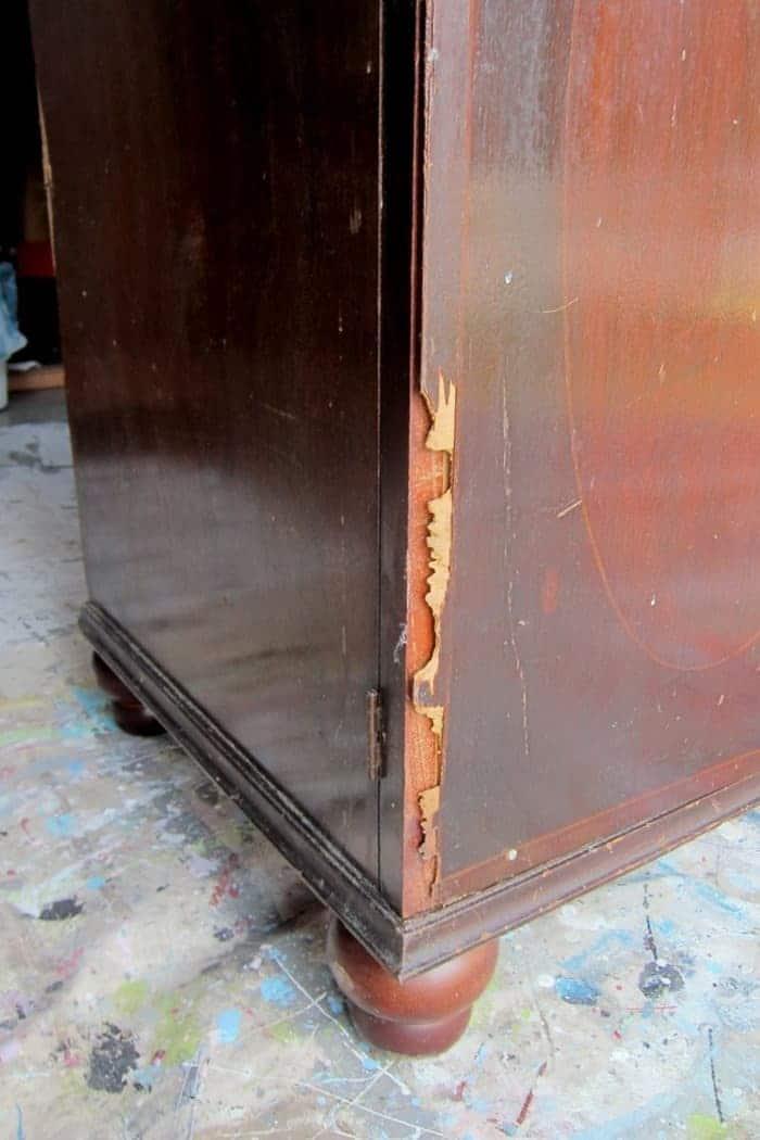 damaged veneer
