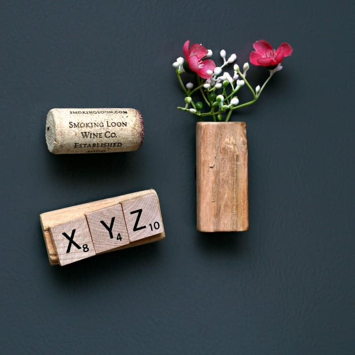magnets made with scrabble tiles and wine corks