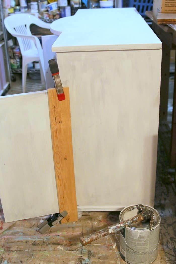 making furniture repairs while painting