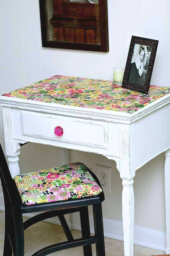 how to decoupage fabric on furniture