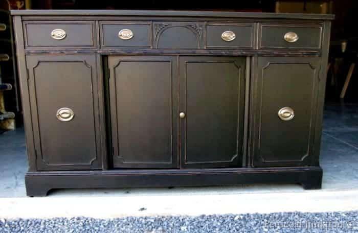 vintage sideboard painted black