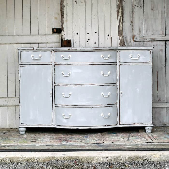 weathered gray sideboard or buffet with distressed paint