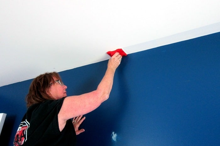 cutting in the ceiling with white ceiling paint