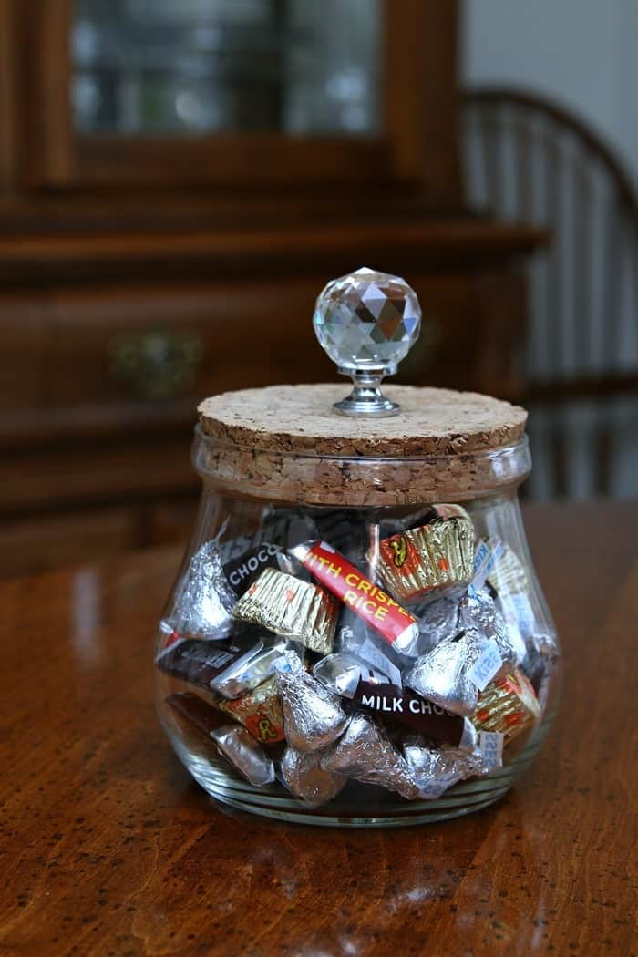 how to make a candy jar from a thrift store find