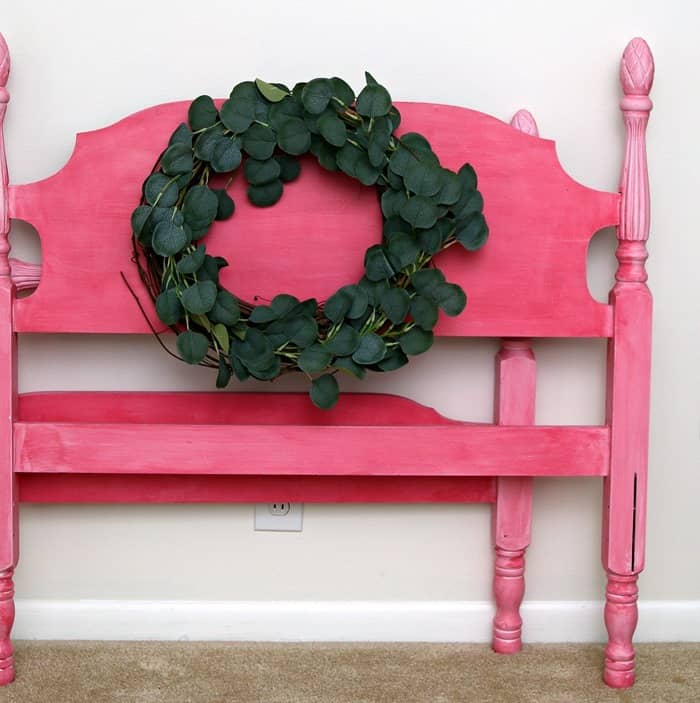 twin headboard and footboard painted pink
