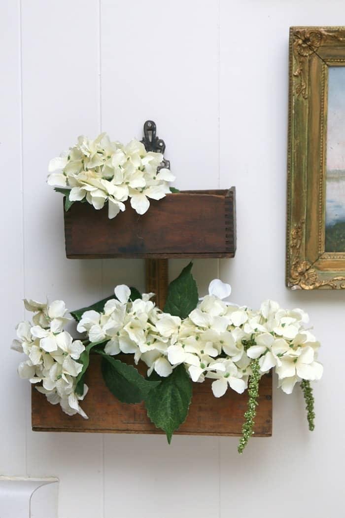 DIY Hydrangea flower wall display