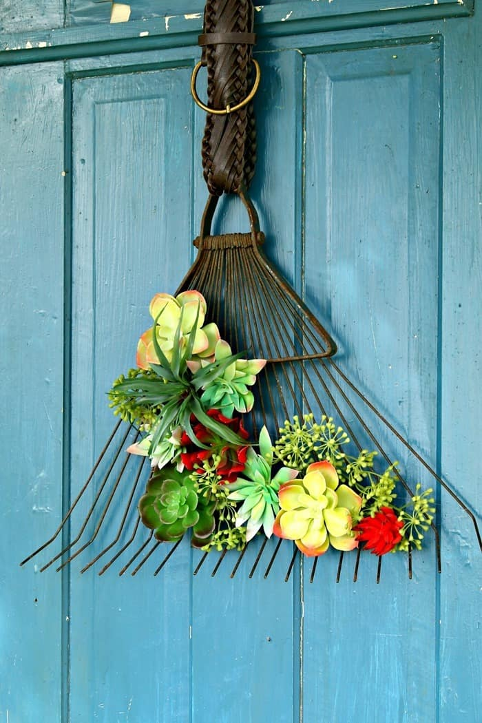 Recycle Upcycle Succulent Rake Wreath Idea