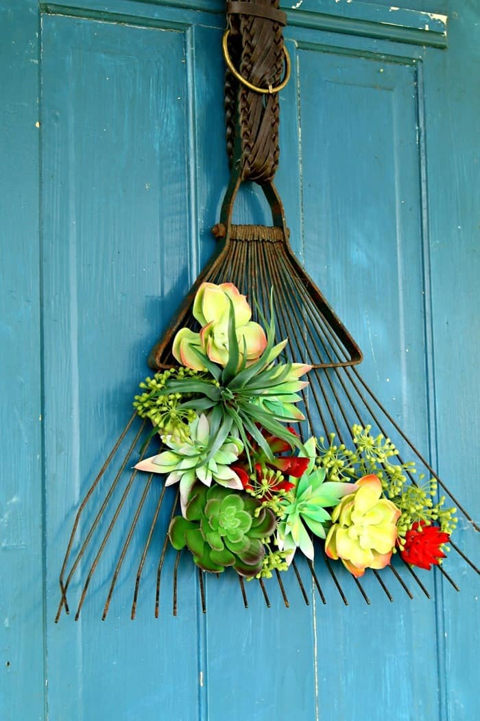 Succulent Rake Door Display