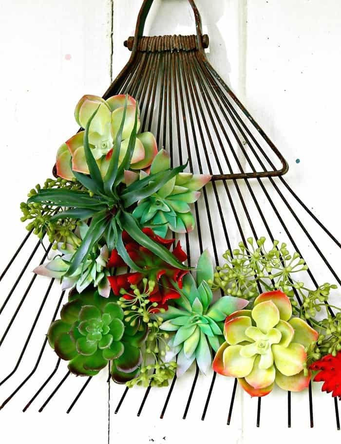 Upcycled Craft Succulent Plant Rake Wreath idea