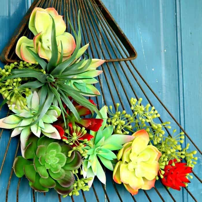 Upcycled Craft Succulent Plant Rake Wreath