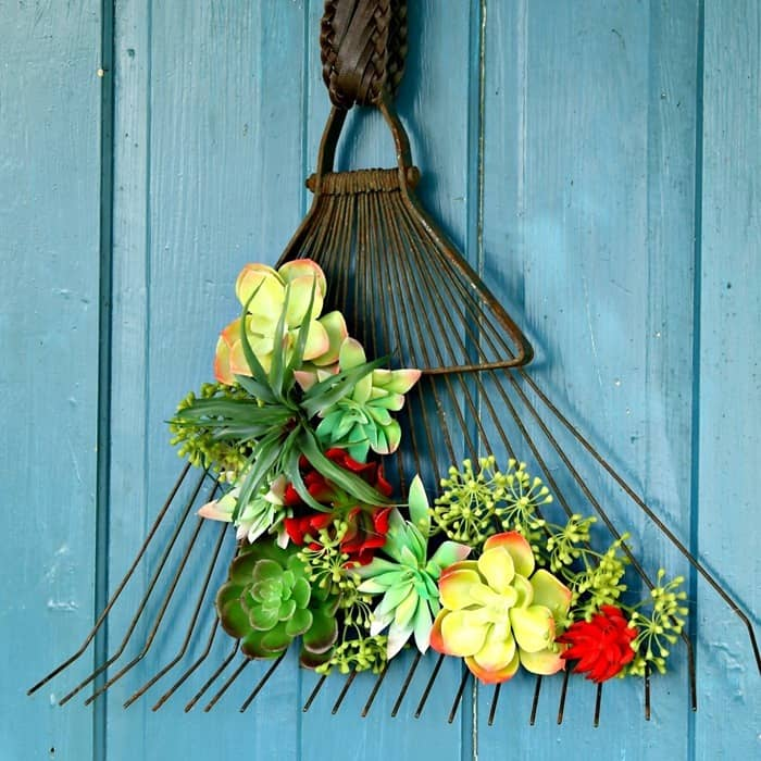 Upcycled Rake Succulent Plant dispaly idea