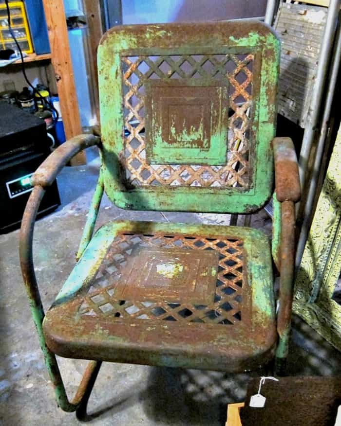 Vintage Metal Outdoor Chair With Lots Of Patina