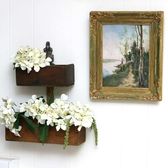 Vintage Upcycled Cheese Box Flower Display