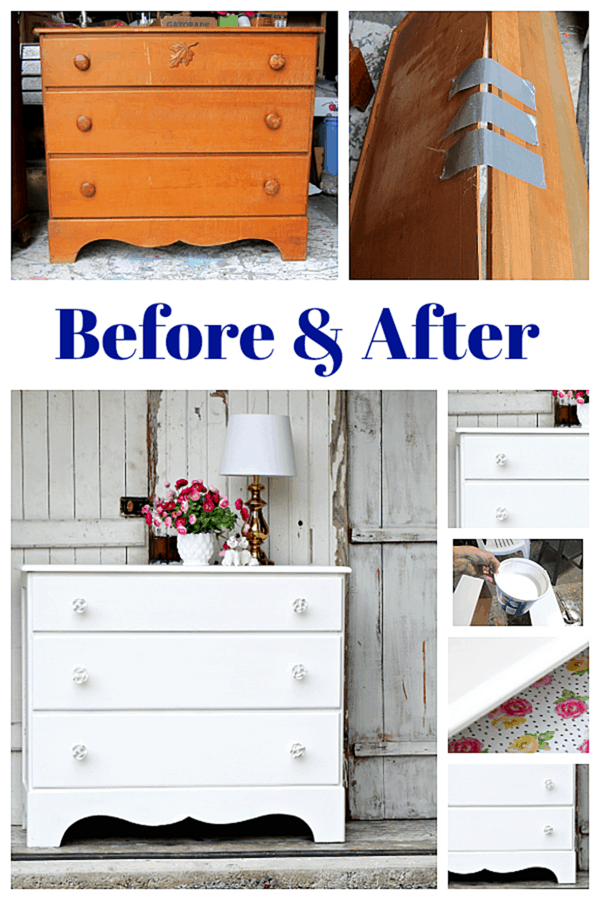before and after furniture makeover with white paint and new rose knobs