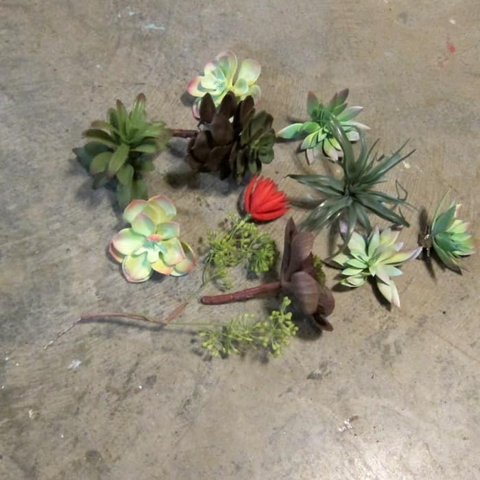 faux succulent plants for craft project rake wreath