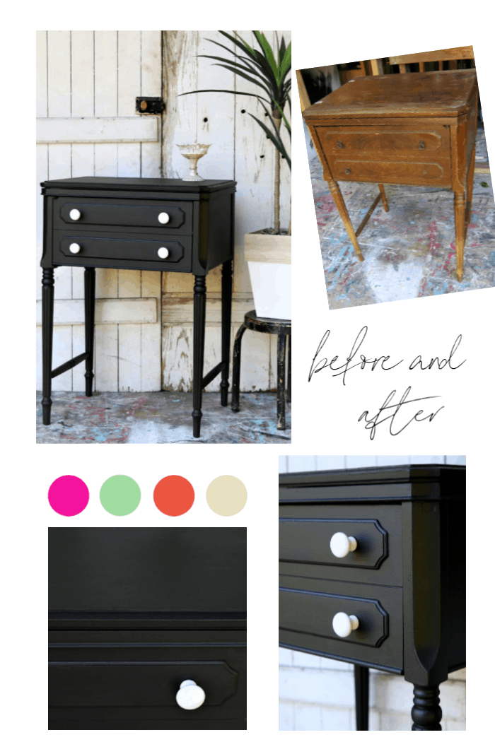 How to paint an old sewing machine cabinet and select new hardware
