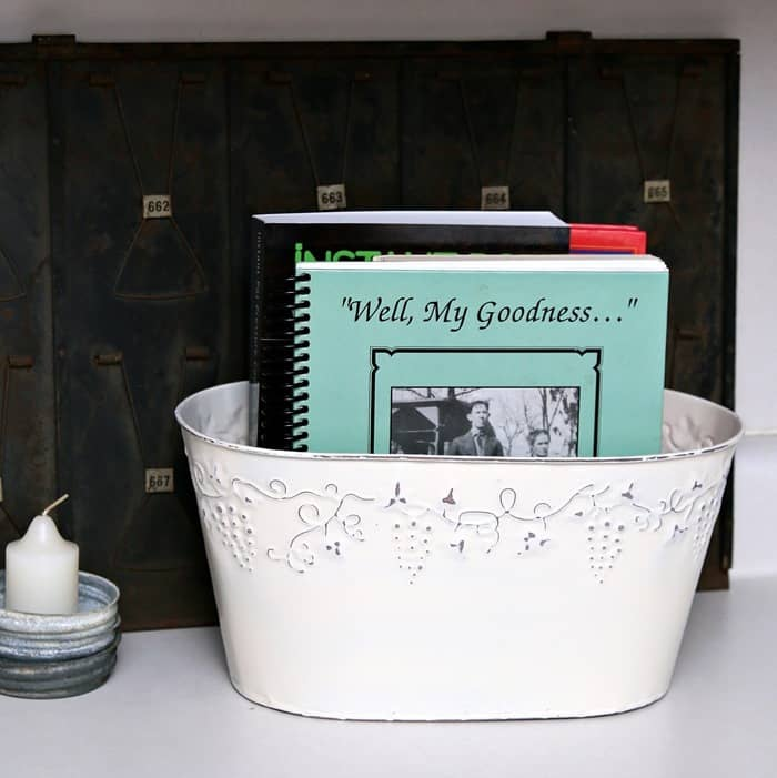 Spray Painted CookBook Organizer Thrift Store Decorating