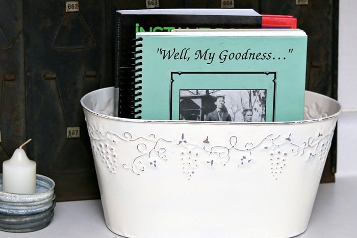 Spray Painted and Distressed CookBook Organizer Thrift Store Decorating
