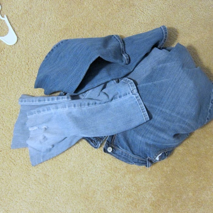cut the legs off of blue jeans to make shorts or capris
