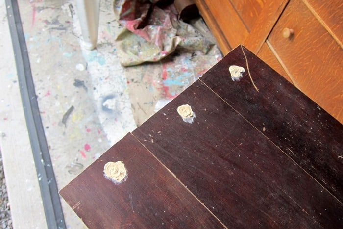 filling furniture holes with wood putty