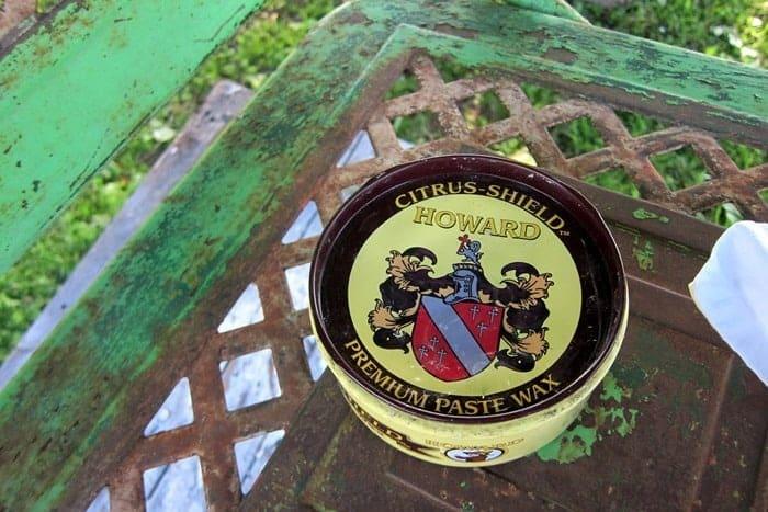 preserve rusty patina on metal furniture using wax