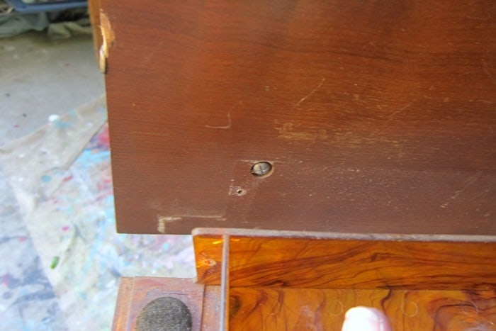 remove hardware and knobs from furniture before painting